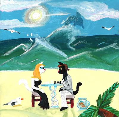 Kitty Twighlight Honeymoon Art Print by Artists With Autism Inc