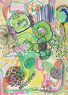 Painting - Kiwi Abstract by Rosalina Bojadschijew