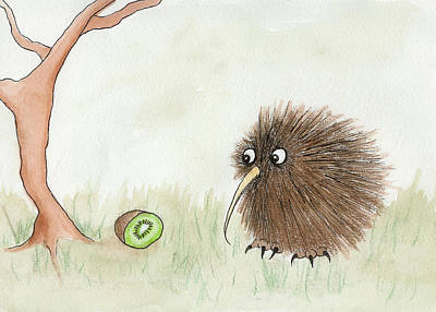Kiwi Bird Painting - Kiwi Bird And Kiwi Fruit by Melissa Rohr Gindling