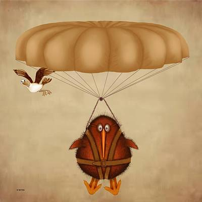Kiwi Digital Art - Kiwi Bird Kev Parachuting by Marlene Watson
