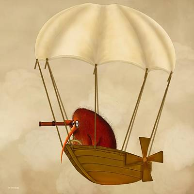 Kiwi Bird Digital Art - Kiwi Bird Kev's Airship by Marlene Watson