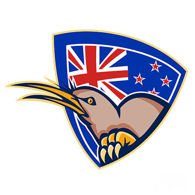 Kiwi Digital Art - Kiwi Bird New Zealand Flag Shield Retro by Aloysius Patrimonio