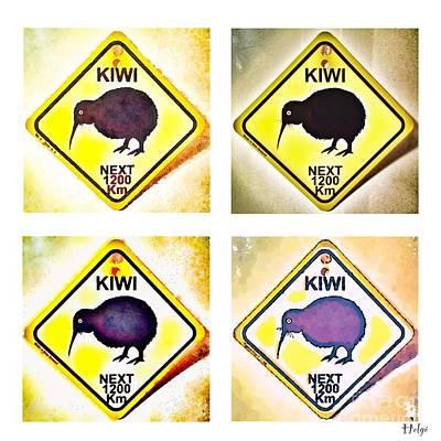 Pop Art Painting - Kiwi Road Sign Pop Art by HELGE Art Gallery
