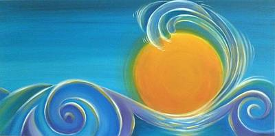 Cotter Painting - Kiwiana Surf Sun by Reina Cottier