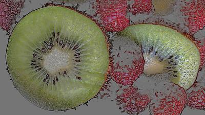 Kiwi Mixed Media - Kiwis And Raspberries by Wendy Helton