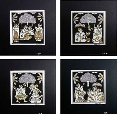 Gallerie Ak Painting - Kjoshi 03 Set Of 4 by Kalyan Joshi