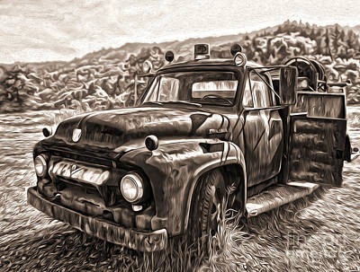 Painting - Klamath Old Fire Truck In Sepia by Gregory Dyer