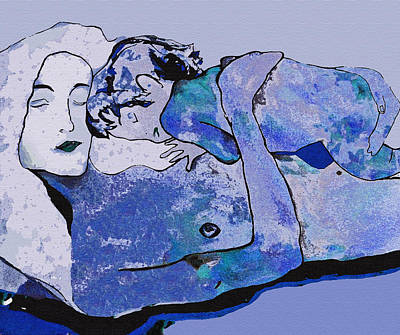 Painting - Klimt Blue Period  by WaterLily