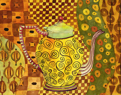 Painting - Klimt Style Teapot Blenda Studio by Blenda Studio