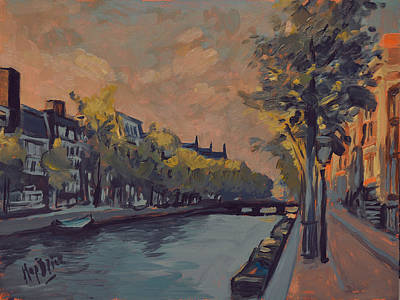 Lights Painting - Kloveniersburgwal Amsterdam In Sunset Light by Nop Briex