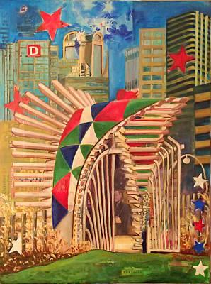 Dallas Skyline Mixed Media - Klyde Warren Park II by Katrina Rasmussen