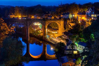 Knaresbrough Viaduct Night Reflection Art Print by Dennis Dame