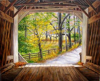 Knecht's Covered Bridge Art Print by Helen Lee Meyers