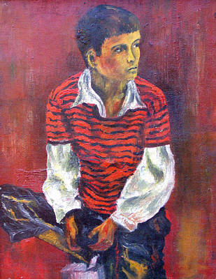 Painting - Kneeling Boy by Walter Fahmy