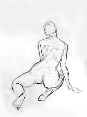 Drawing - Kneeling Female Nude by Adam Long