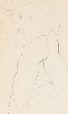 Pen Drawing - Kneeling Female Nude by Egon Schiele