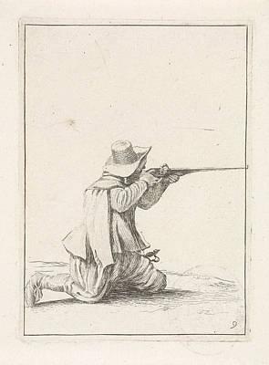 Kneeling Soldier, His Rifle Berthing, Dirk Maas Art Print
