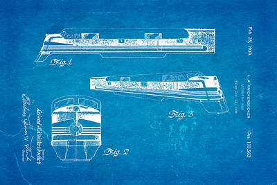Knickerbocker Locomotive Patent Art 1939 Blueprint Art Print by Ian Monk