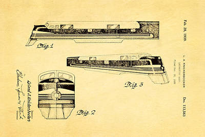 Knickerbocker Locomotive Patent Art 1939 Art Print by Ian Monk