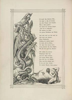 Knight And Dragon Art Print