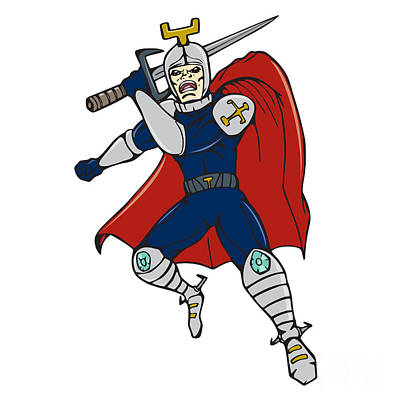 Sword Cartoon Digital Art - Knight Brandishing Sword Cartoon by Aloysius Patrimonio