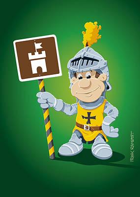Knight Digital Art - Knight Cartoon Man Castle Sign by Frank Ramspott
