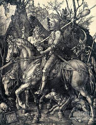 Soldiers Drawing - Knight Death And The Devil by Albrecht Durer