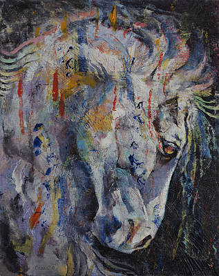 Abstract Equine Painting - Knight Of Chess by Michael Creese