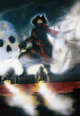 Blackbeard Painting - Knight Of The Black Flag by Donna Lee Nyzio