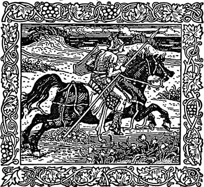 Aged Wood Drawing - Knight On Horseback Illustration by
