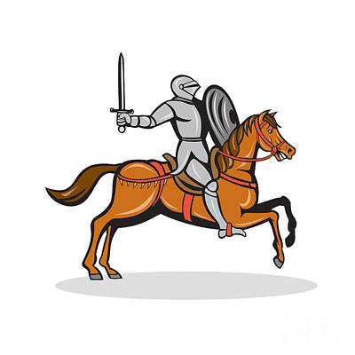 Sword Cartoon Digital Art - Knight Riding Horse Cartoon by Aloysius Patrimonio