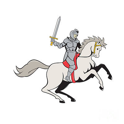 Sword Cartoon Digital Art - Knight Riding Horse Sword Cartoon by Aloysius Patrimonio