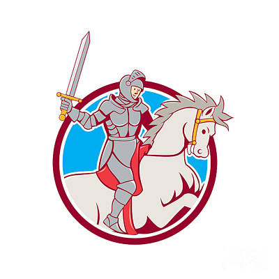 Sword Cartoon Digital Art - Knight Riding Horse Sword Circle Cartoon by Aloysius Patrimonio