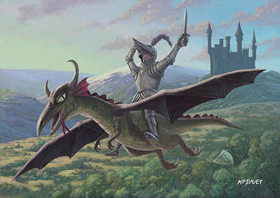 Knight In Shining Armour Painting - Knight Riding On Flying Dragon by Martin Davey