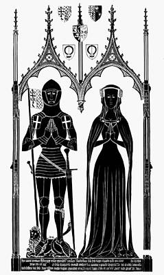 Brass Rubbing Painting - Knights England, 1416 by Granger