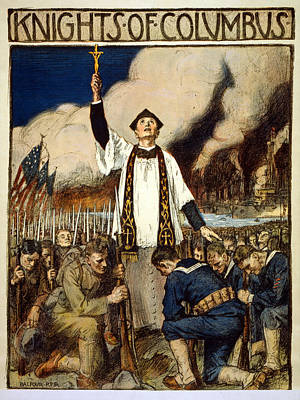 Prayer Drawing - Knights Of Columbus, 1917 by William Balfour Kerr