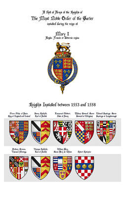 Queen Mary Digital Art - Knights Of The Garter - Queen Mary I by Scott Nourse