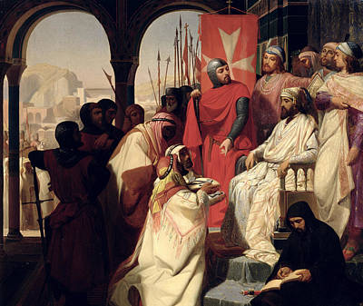 Templar Painting - Knights Of The Order Of St John Of Jerusalem Restoring Religion In Armenia by Henri Delaborde
