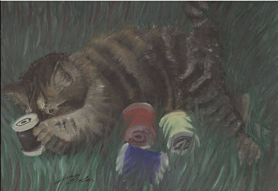 Painting - Knitten Kitten by Simon Drohen
