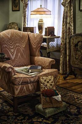 Foot Stool Photograph - Knitting And Reading Materials by Lynn Palmer