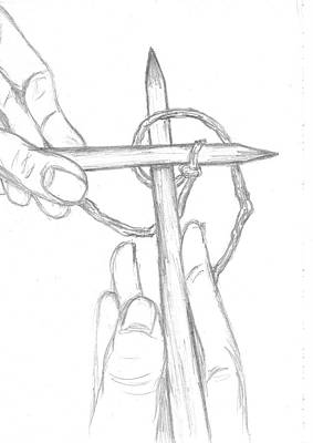 Hand Crafted Drawing - Knitting Cross by Deanne Joy