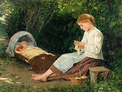 Baby In Basket Painting - Knitting Girl Watching The Toddler In A Craddle by Albert Anker
