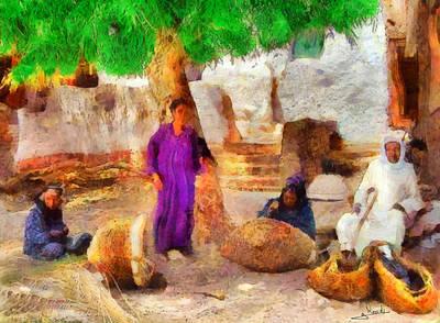 Sahara Painting - Knitting Straw Baskets 1 by George Rossidis