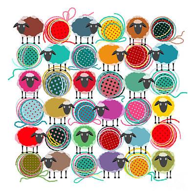 Bright Wall Art - Digital Art - Knitting Yarn Balls And Sheep Abstract by Popmarleo