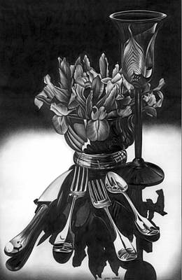 Still Life Drawing - Knives And Forks by Jerry Winick