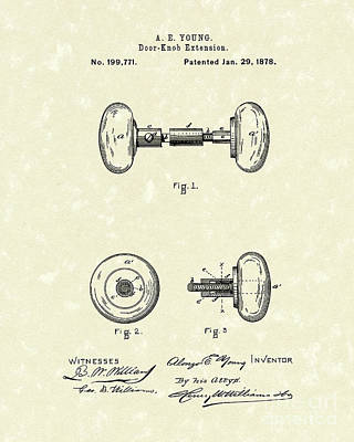 Door Knob Drawing - Knob Extension 1878 Patent Art by Prior Art Design