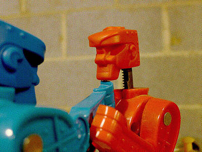 Rockem Sockem Robots Photograph - Knock Out Blow by Richard Reeve