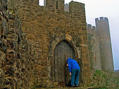 Knocking At Castle Door In Medieval Obidos-portugal Art Print by Ruth Hager