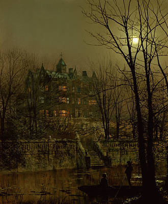Moonlight Painting - Knostrop Old Hall, Leeds, 1883 by John Atkinson Grimshaw