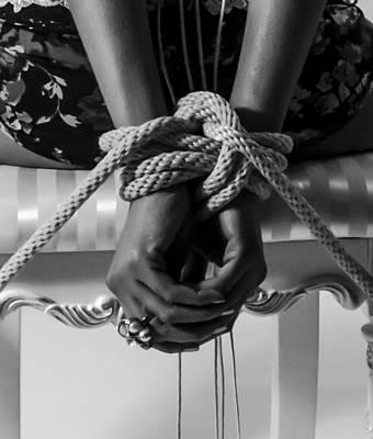 Black And White Bondage Photograph - Knot A Hope In Sight by Frank Villasana